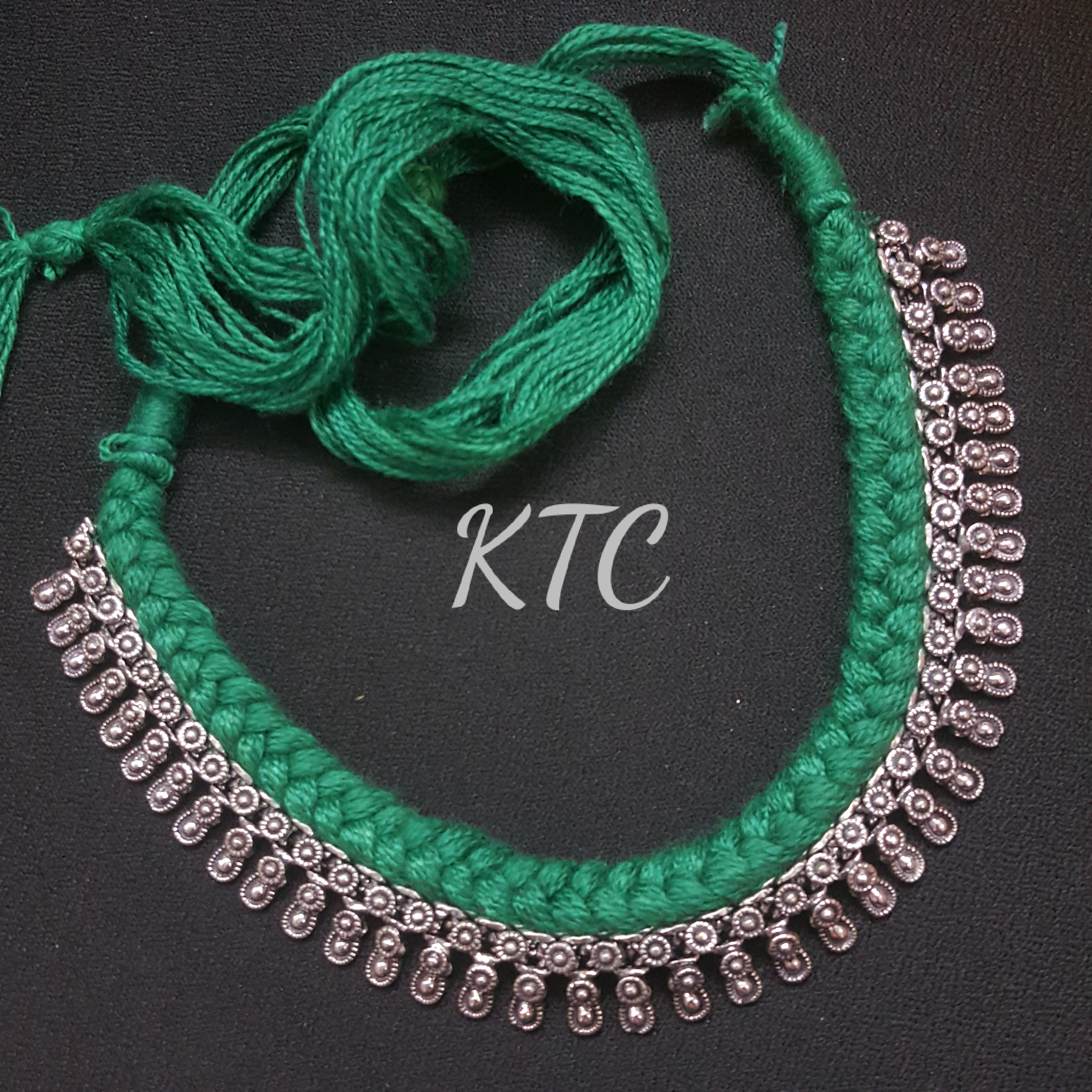 Green Thread German Silver Set