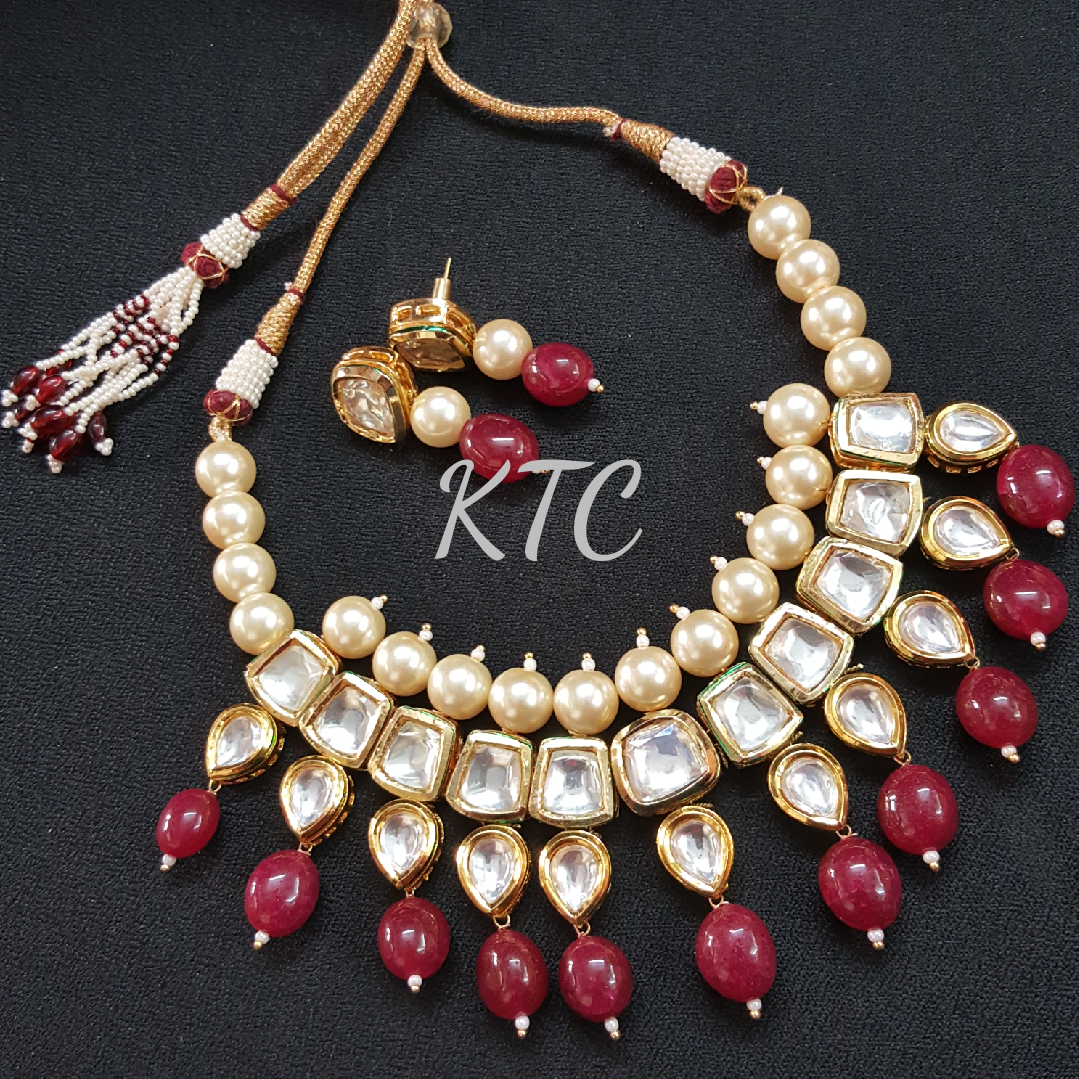 Maroon Pearl Kundan Necklace
