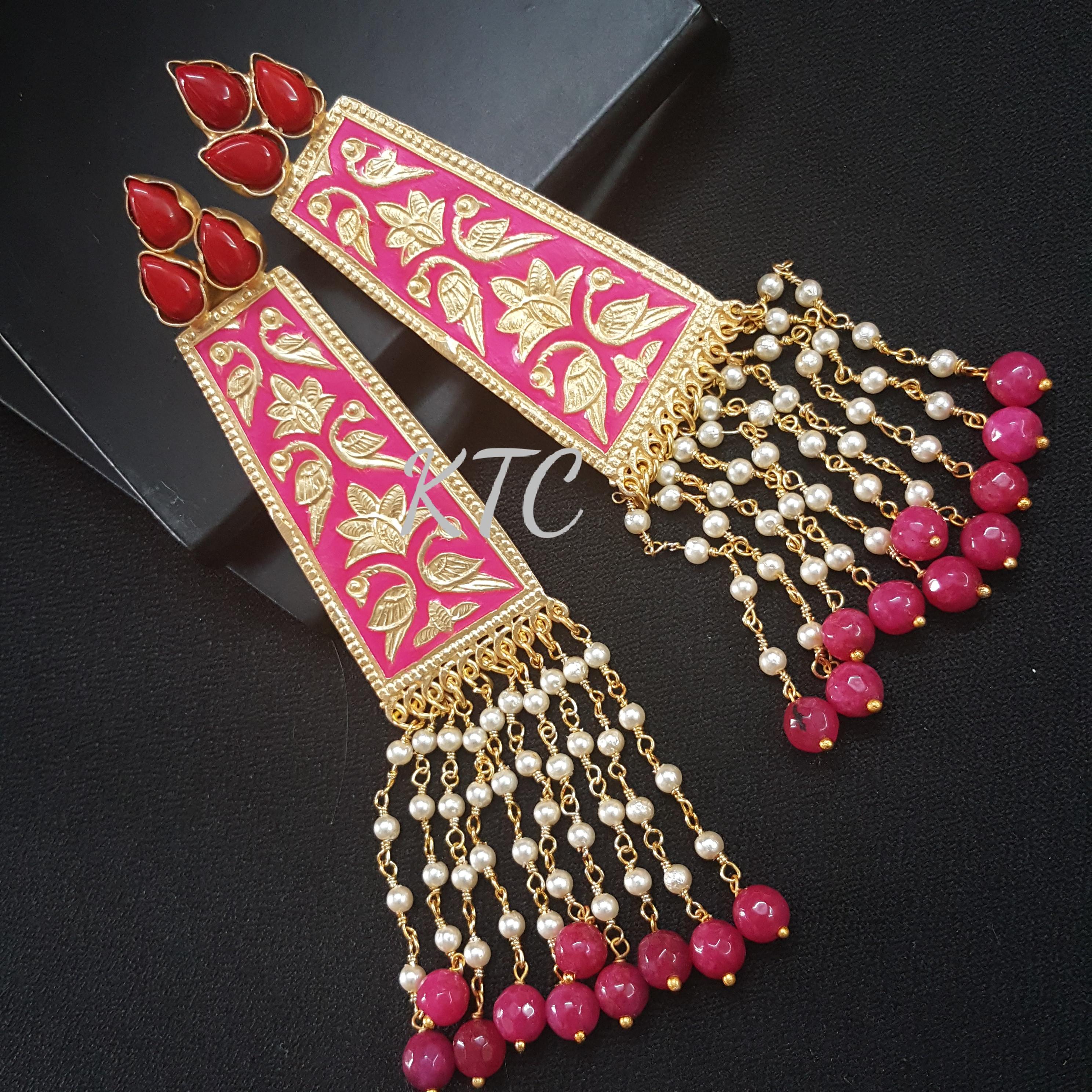 Pink Meena Long Pearl Earing